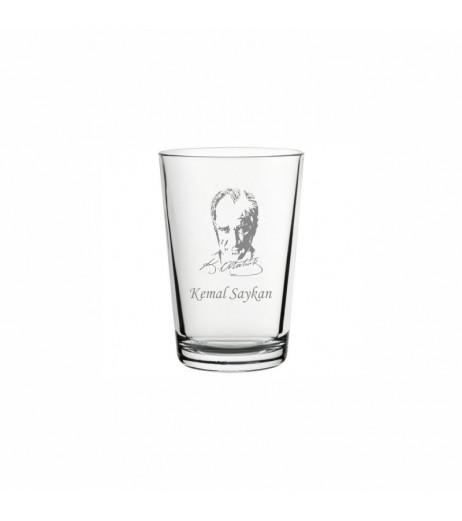 Atatürk Silüetli Klasik Su Bardağı