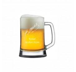 Atatürk İmzalı İsim Yazılı Bira Bardağı