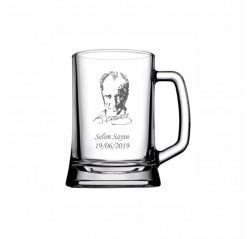 Atatürk Silüeti İsim Yazılı Bira Bardağı